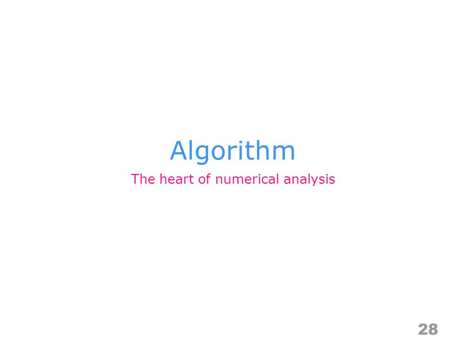 Algorithm 28 The heart of numerical analysis