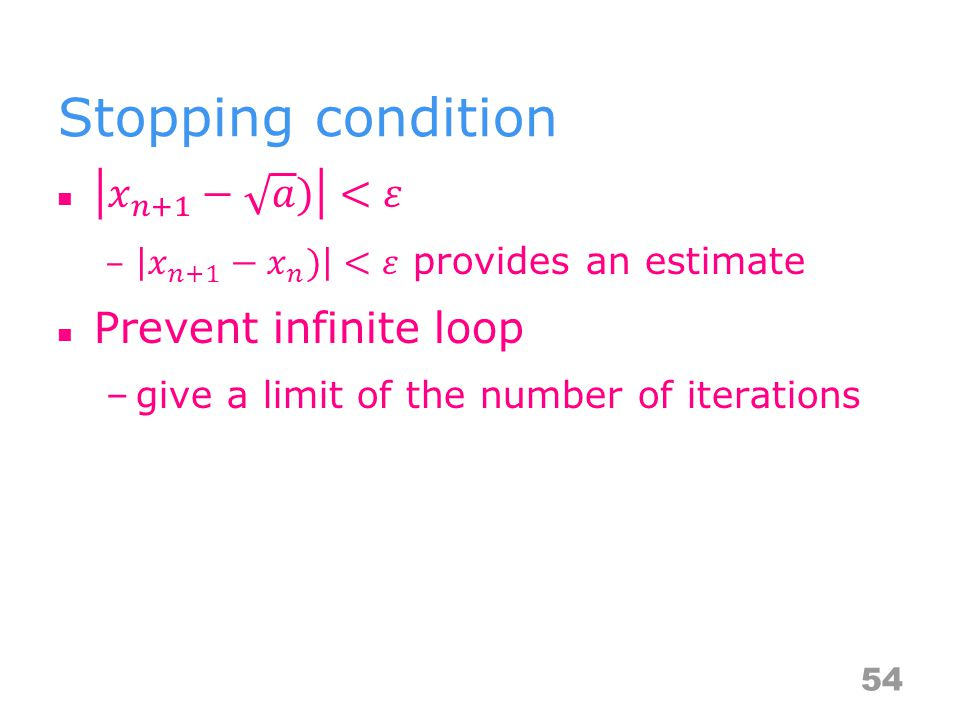 Stopping condition 54