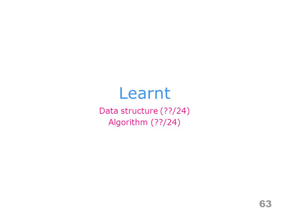 Learnt 63 Data structure (??/24) Algorithm (??/24)