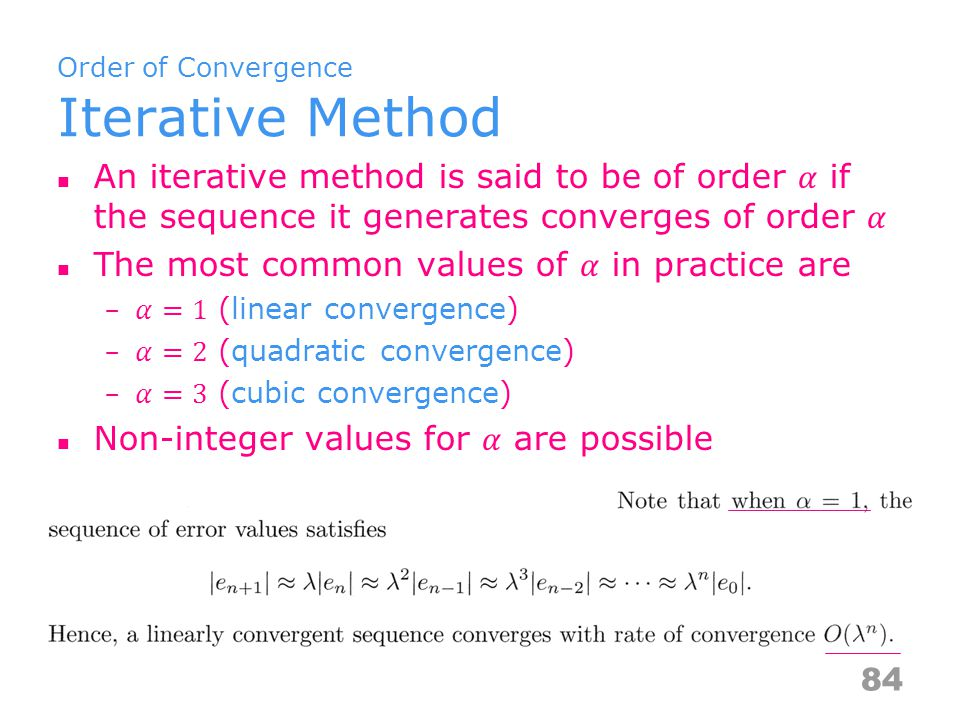 Order of Convergence Iterative Method 84