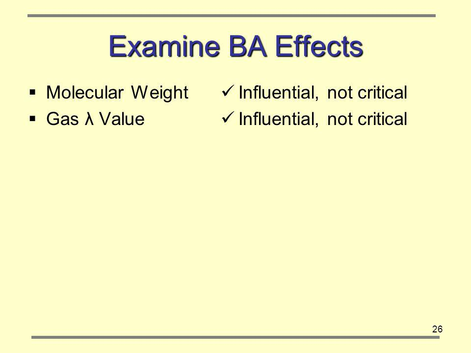 26 Examine BA Effects Molecular Weight Gas λ Value Influential, not critical
