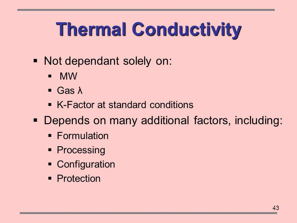 43 Thermal Conductivity Not dependant solely on: MW Gas λ K-Factor at standard conditions Depends on many additional factors, including: Formulation Processing Configuration Protection