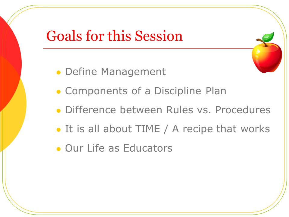 Goals for this Session Define Management Components of a Discipline Plan Difference between Rules vs.