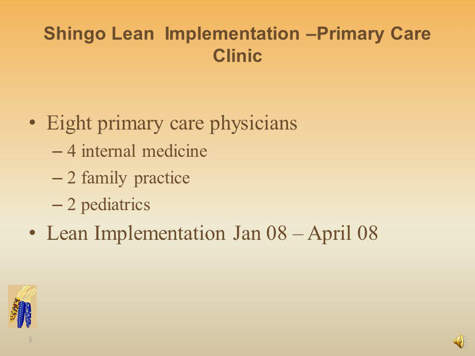 8 Shingo Lean Implementation –Primary Care Clinic Eight primary care physicians – 4 internal medicine – 2 family practice – 2 pediatrics Lean Implementation Jan 08 – April 08