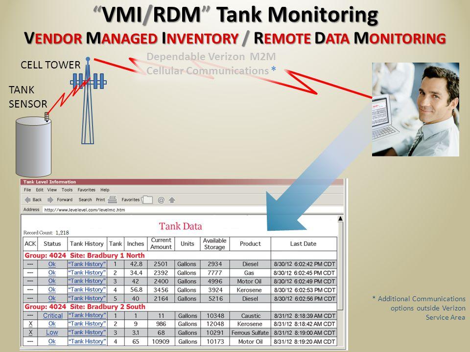TANK SENSOR V ENDOR M ANAGED I NVENTORY / R EMOTE D ATA M ONITORING VMI/RDM Tank MonitoringVMI/RDM Tank Monitoring CELL TOWER SEE MORE...