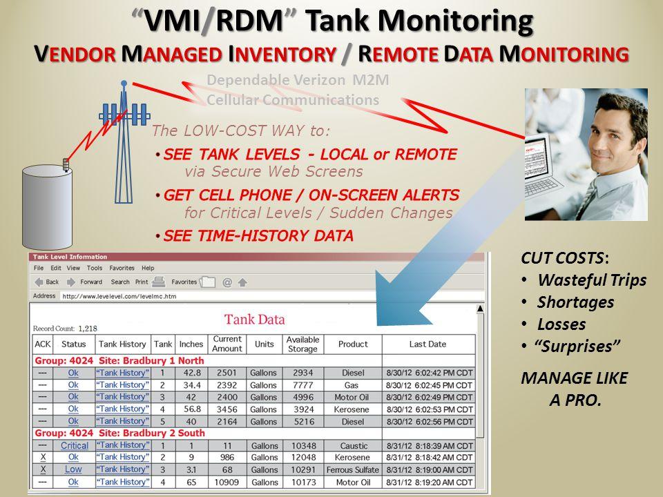 V ENDOR M ANAGED I NVENTORY / R EMOTE D ATA M ONITORING VMI/RDM Tank MonitoringVMI/RDM Tank Monitoring Dependable Verizon M2M Cellular Communications