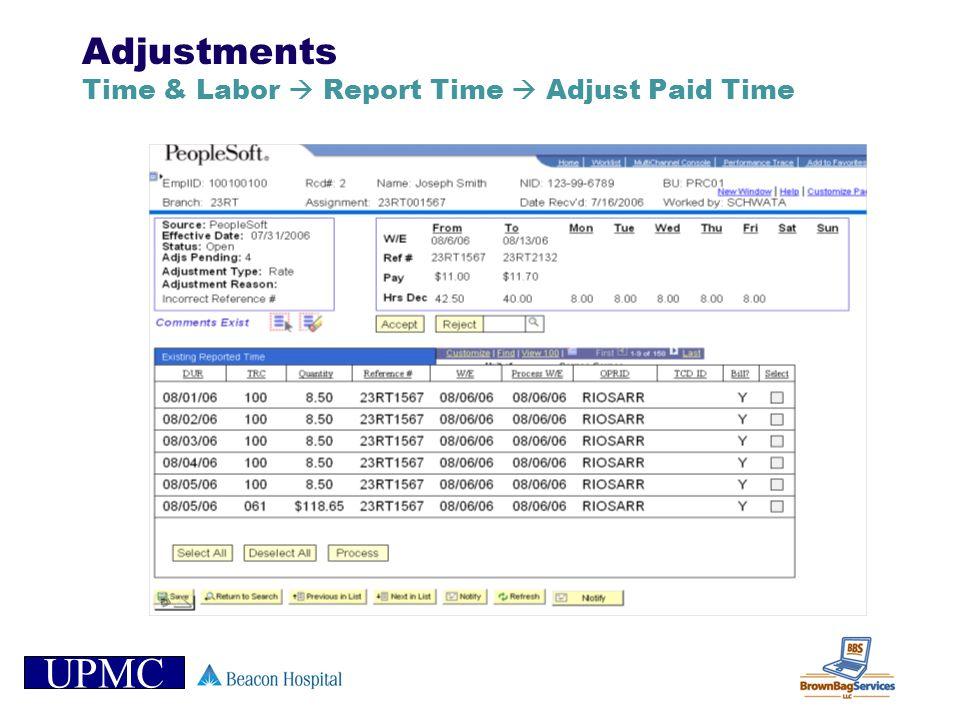 UPMC Adjustments Time & Labor Report Time Adjust Paid Time