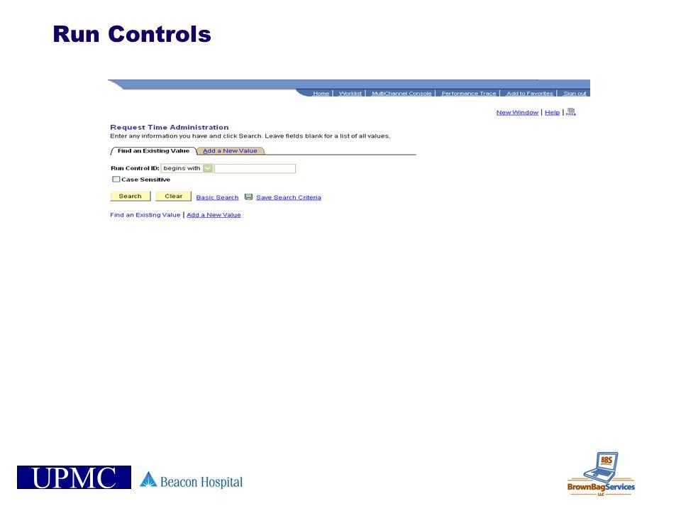 UPMC Run Controls