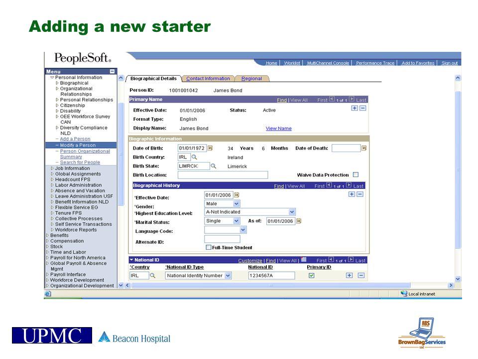 UPMC Adding a new starter