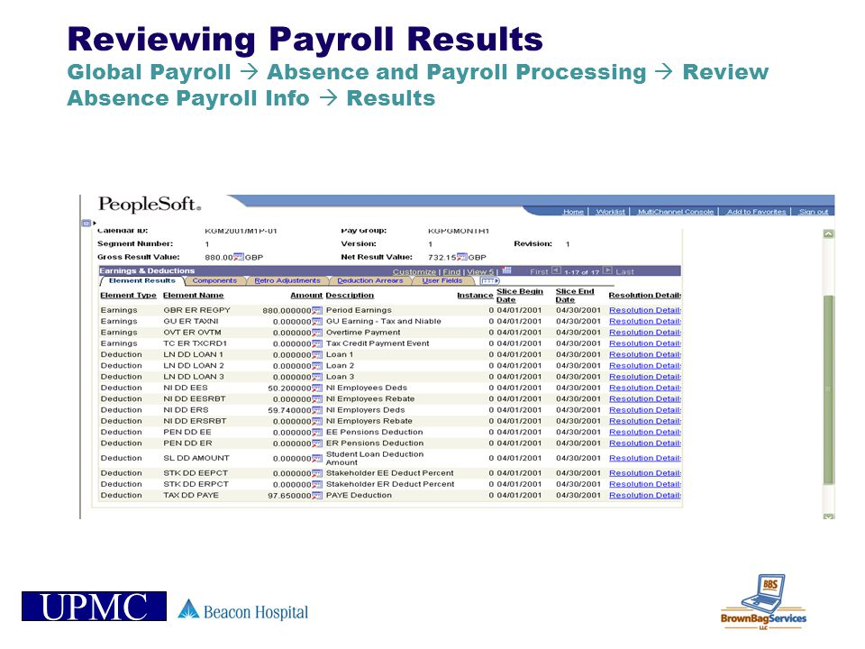 UPMC Reviewing Payroll Results Global Payroll Absence and Payroll Processing Review Absence Payroll Info Results