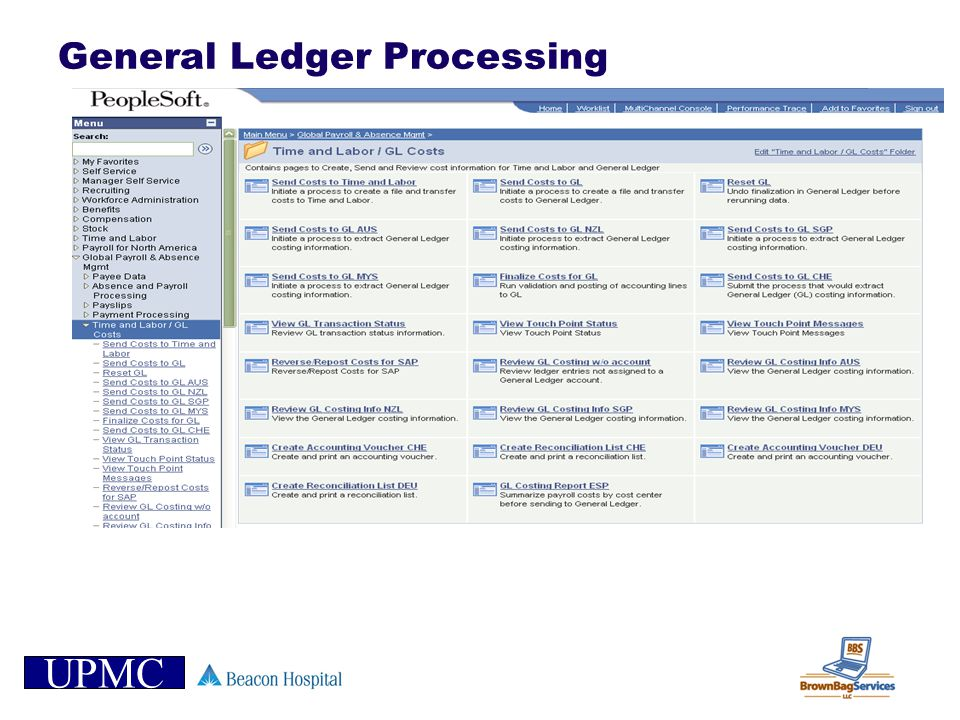UPMC General Ledger Processing