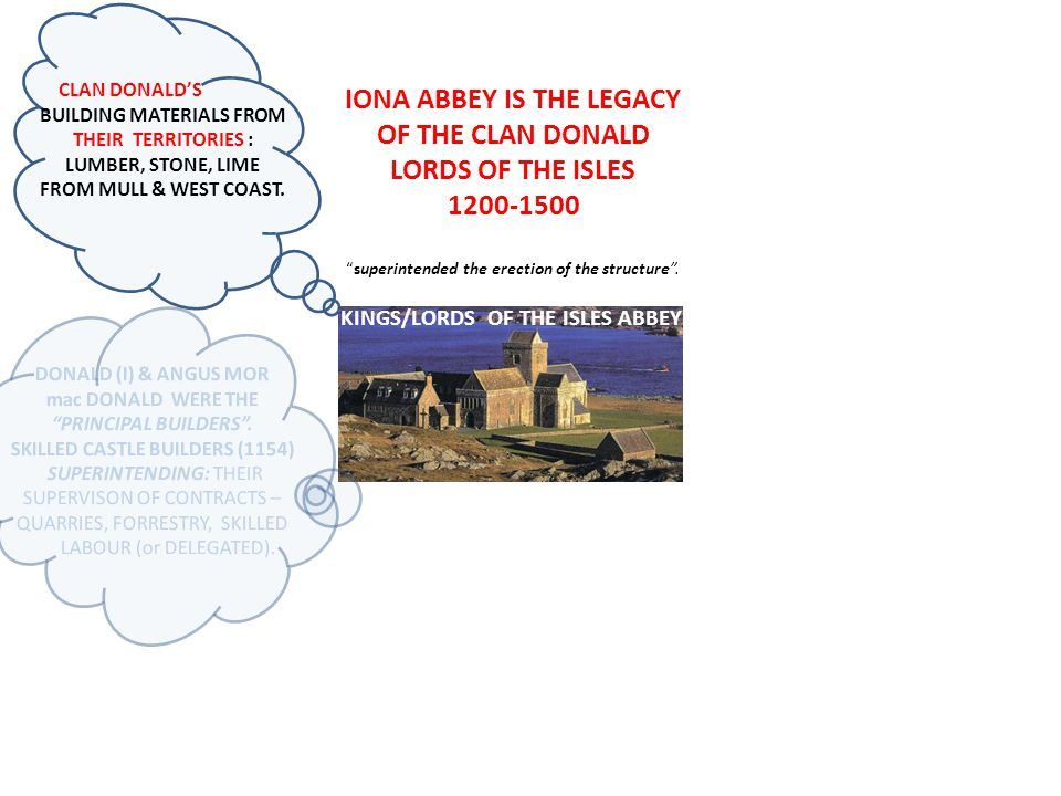 IONA ABBEY IS THE LEGACY OF THE CLAN DONALD LORDS OF THE ISLES 1200-1500 superintended the erection of the structure.