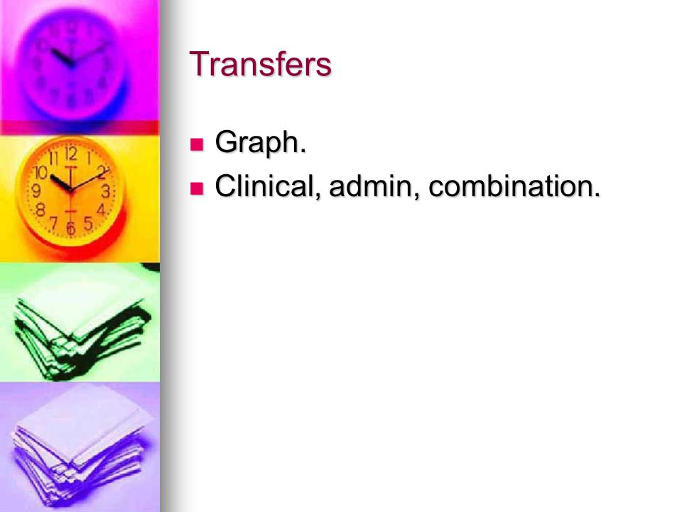Transfers Graph. Graph. Clinical, admin, combination. Clinical, admin, combination.