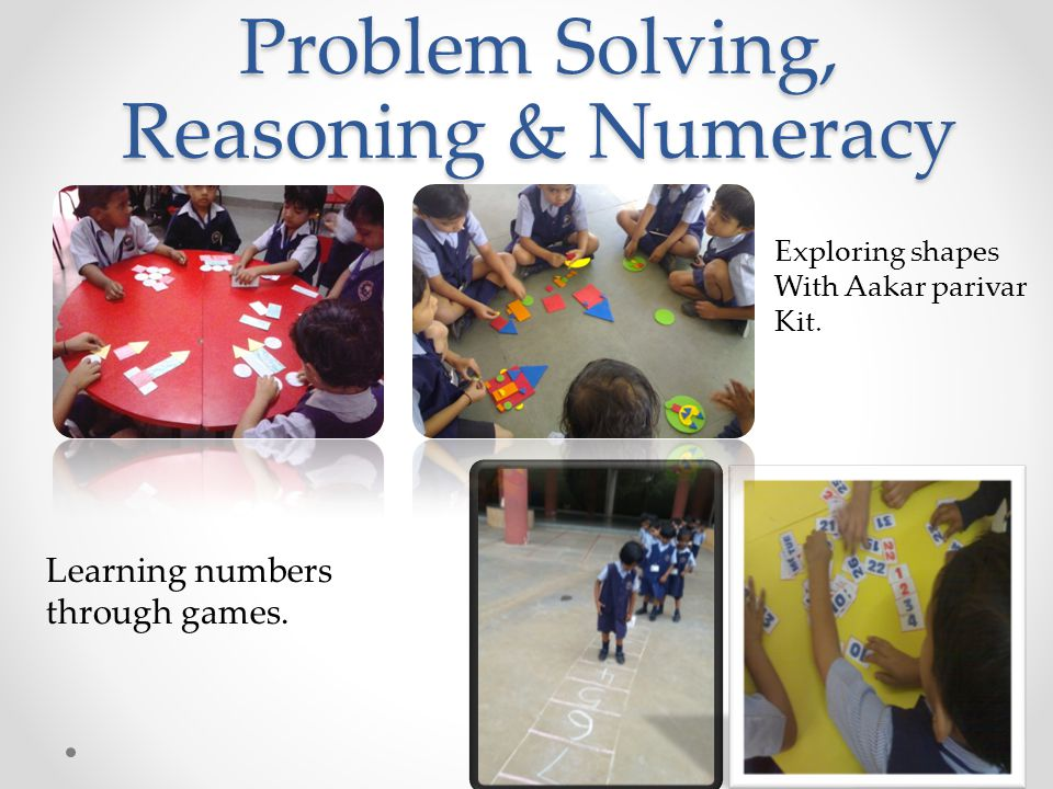 Problem Solving, Reasoning & Numeracy Exploring shapes With Aakar parivar Kit.