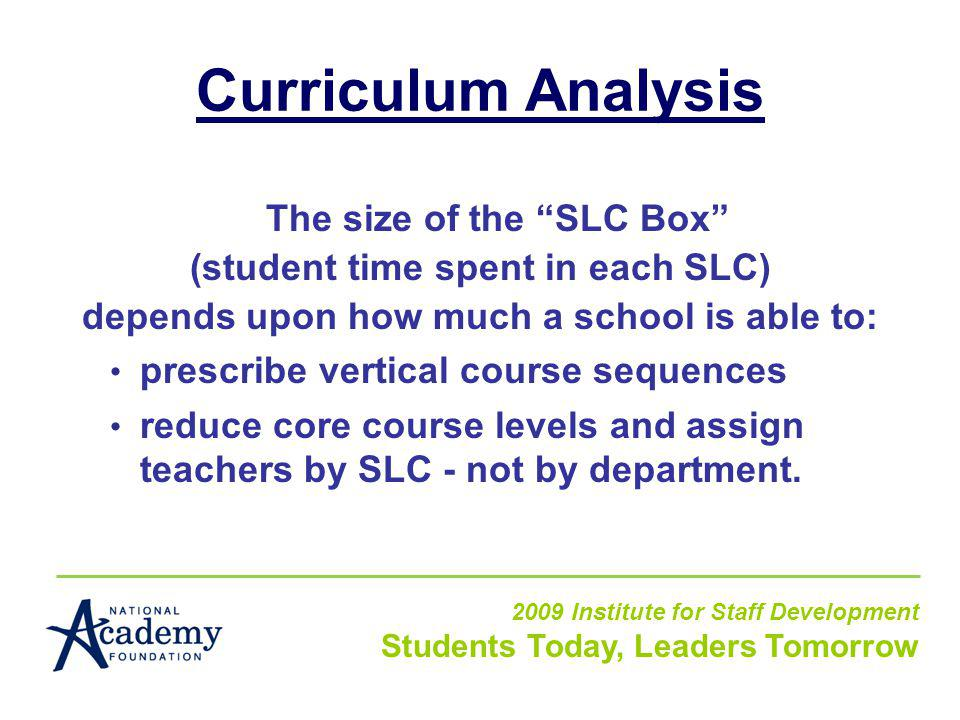 Curriculum Analysis The size of the SLC Box (student time spent in each SLC) depends upon how much a school is able to: prescribe vertical course sequences reduce core course levels and assign teachers by SLC - not by department.