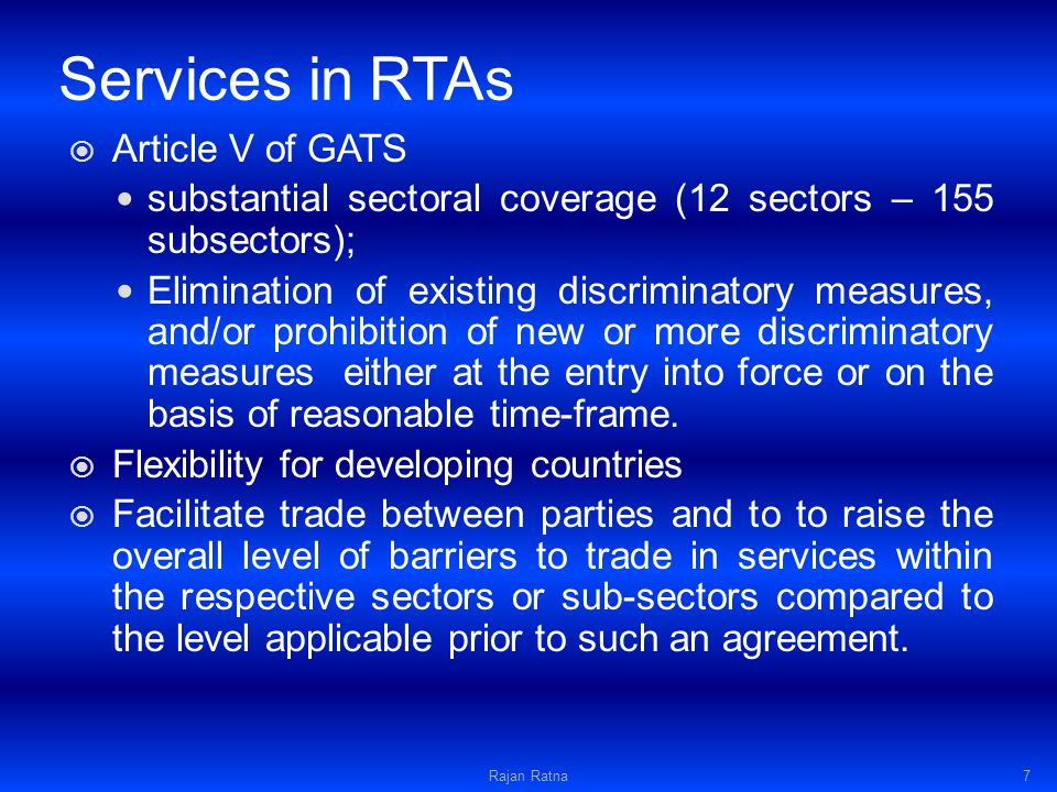 SAT - Test Para 8(a) of Article XXIV of GATT.Trade value.
