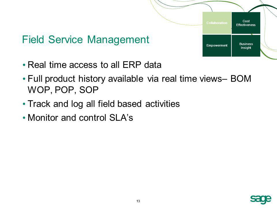Field Service Management Real time access to all ERP data Full product history available via real time views– BOM WOP, POP, SOP Track and log all fiel