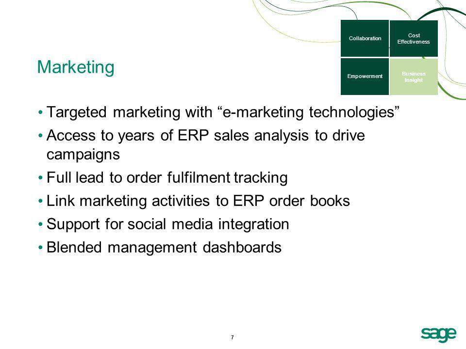 Marketing Targeted marketing with e-marketing technologies Access to years of ERP sales analysis to drive campaigns Full lead to order fulfilment trac