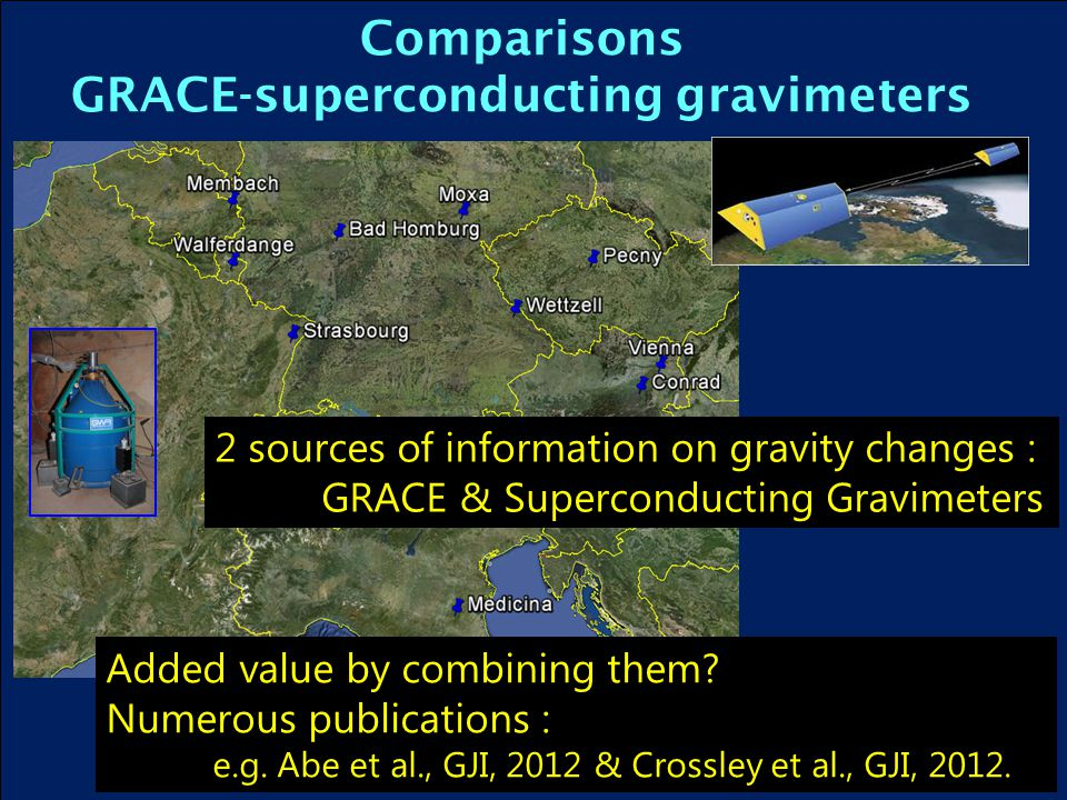 Comparisons GRACE-superconducting gravimeters Added value by combining them.