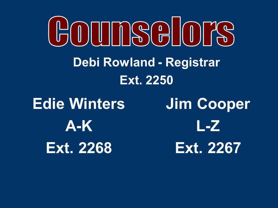 Jim Cooper L-Z Ext. 2267 Edie Winters A-K Ext. 2268 Debi Rowland - Registrar Ext. 2250