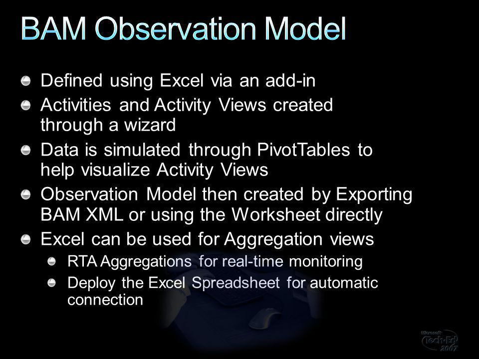 Defined using Excel via an add-in Activities and Activity Views created through a wizard Data is simulated through PivotTables to help visualize Activity Views Observation Model then created by Exporting BAM XML or using the Worksheet directly Excel can be used for Aggregation views RTA Aggregations for real-time monitoring Deploy the Excel Spreadsheet for automatic connection