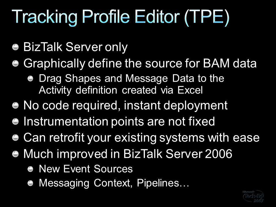 BizTalk Server only Graphically define the source for BAM data Drag Shapes and Message Data to the Activity definition created via Excel No code required, instant deployment Instrumentation points are not fixed Can retrofit your existing systems with ease Much improved in BizTalk Server 2006 New Event Sources Messaging Context, Pipelines…