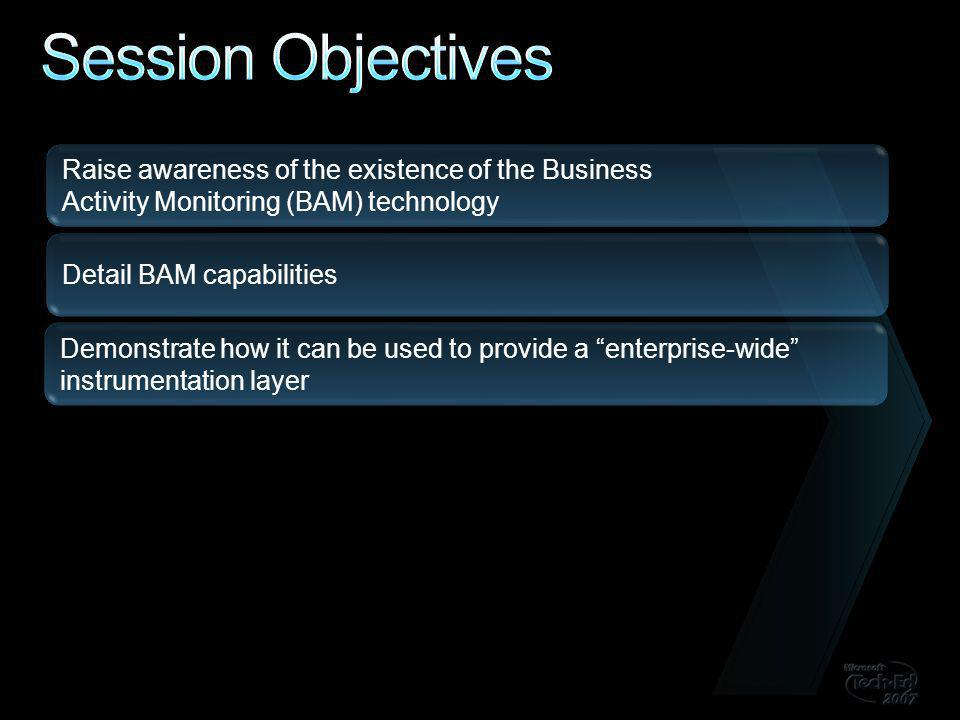Raise awareness of the existence of the Business Activity Monitoring (BAM) technology Detail BAM capabilities Demonstrate how it can be used to provide a enterprise-wide instrumentation layer