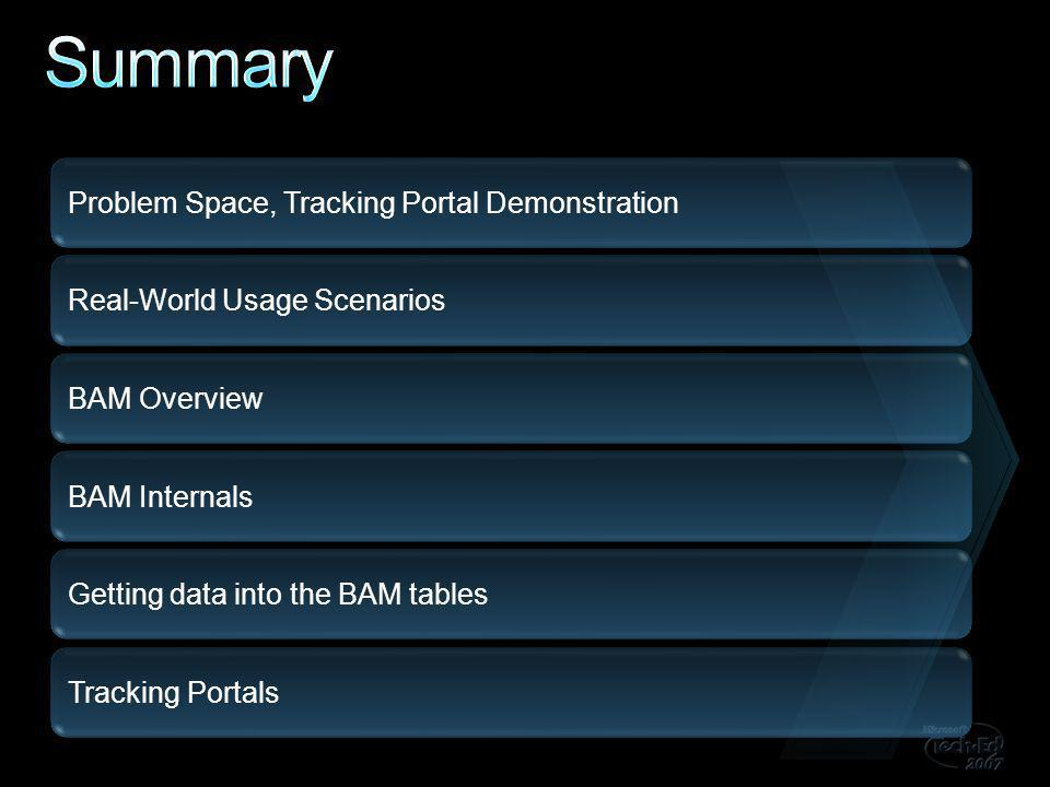 Problem Space, Tracking Portal Demonstration Real-World Usage Scenarios BAM Overview BAM Internals Getting data into the BAM tables Tracking Portals
