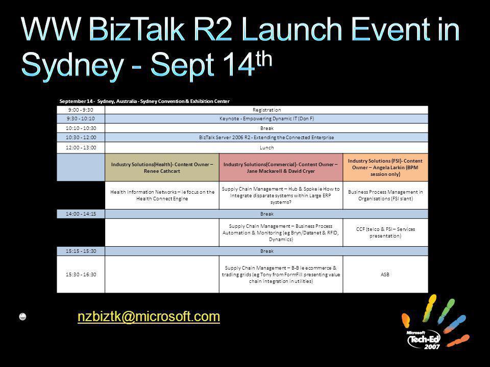 September 14 - Sydney, Australia - Sydney Convention & Exhibition Center 9:00 - 9:30Registration 9:30 - 10:10Keynote - Empowering Dynamic IT (Don F) 1