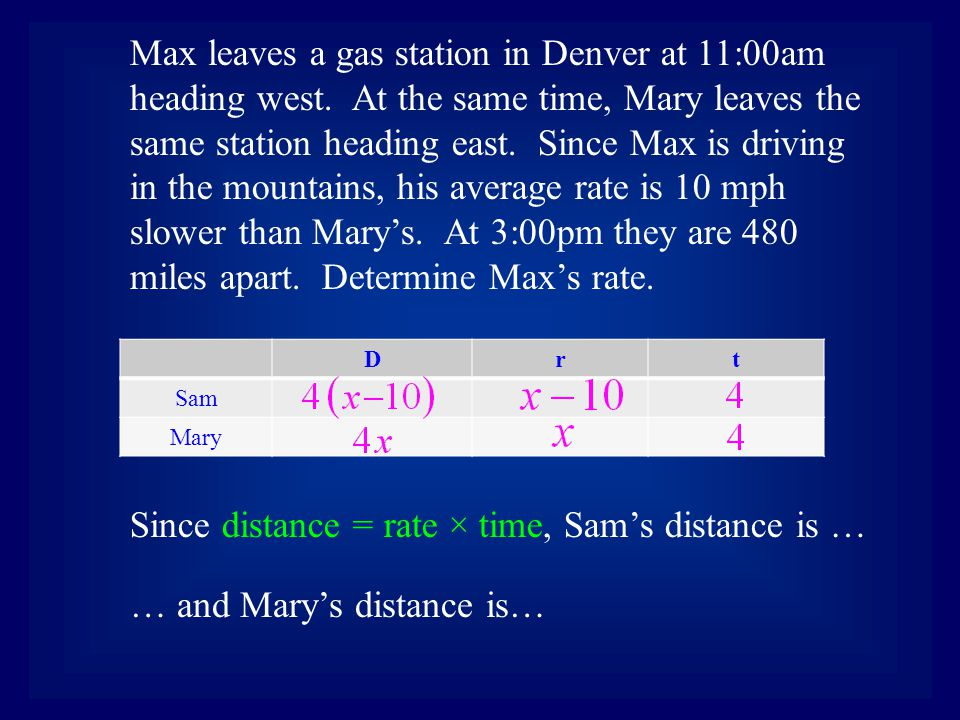 Drt Sam Mary Max leaves a gas station in Denver at 11:00am heading west. At the same time, Mary leaves the same station heading east. Since Max is dri