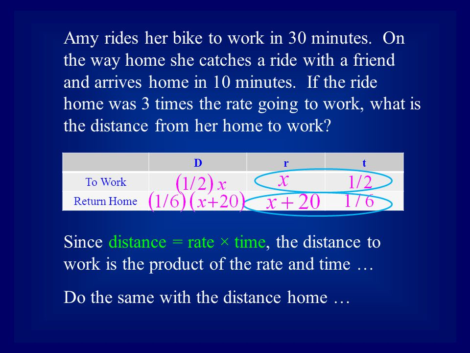 Drt To Work Return Home Amy rides her bike to work in 30 minutes. On the way home she catches a ride with a friend and arrives home in 10 minutes. If