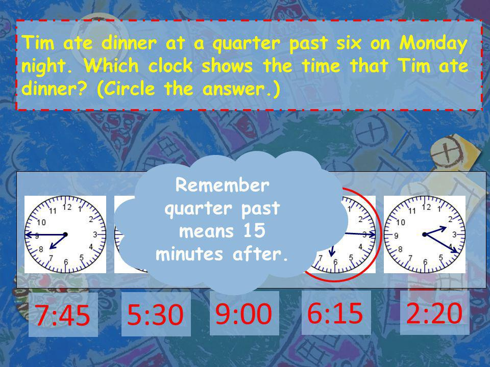 Draw the two hands on the clock to show the time. a quarter past twelve