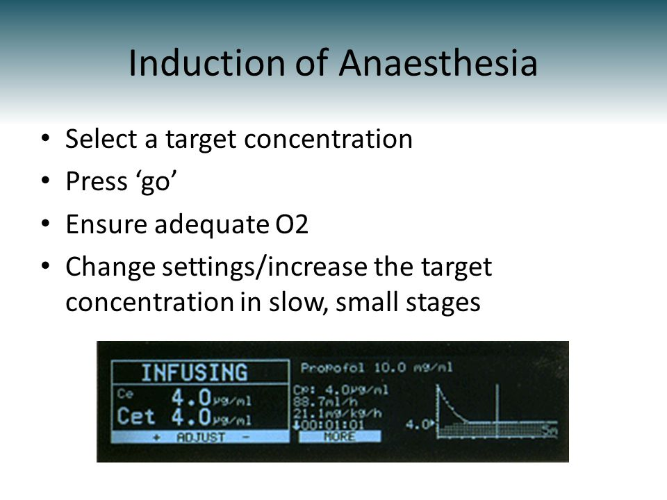 Induction of Anaesthesia Select a target concentration Press go Ensure adequate O2 Change settings/increase the target concentration in slow, small stages