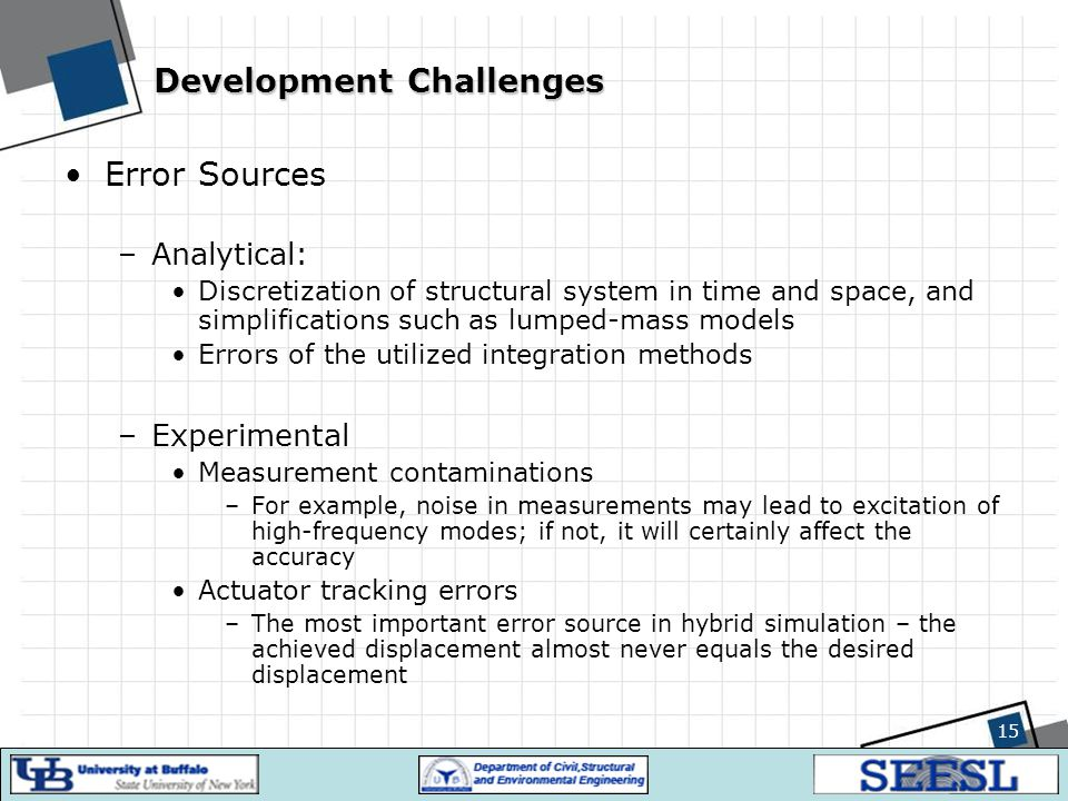 15 Development Challenges Error Sources –Analytical: Discretization of structural system in time and space, and simplifications such as lumped-mass mo