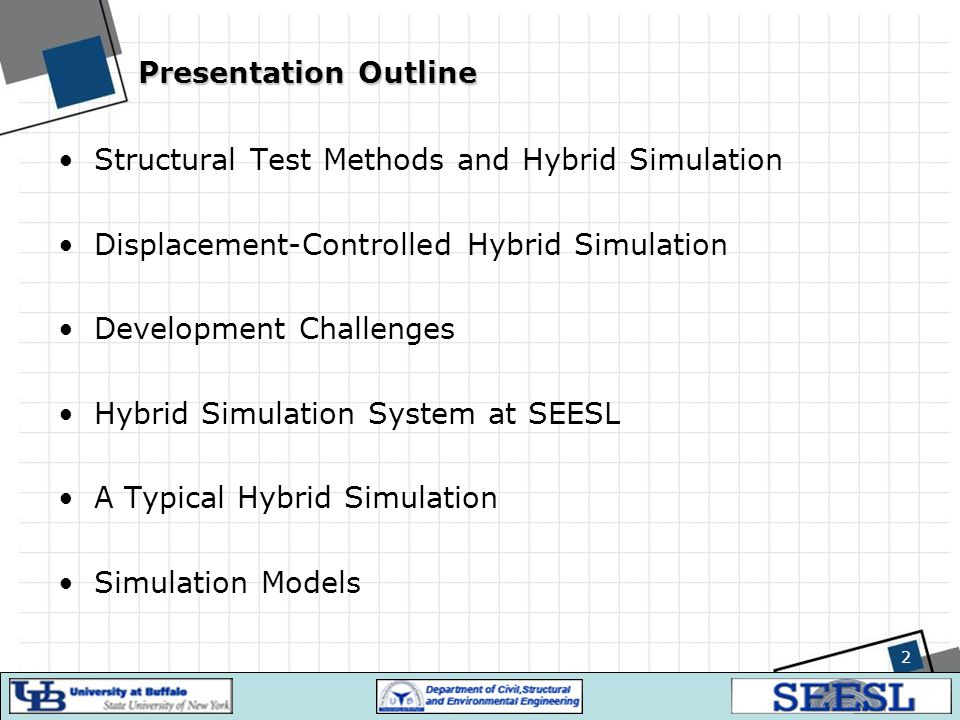 2 Presentation Outline Structural Test Methods and Hybrid Simulation Displacement-Controlled Hybrid Simulation Development Challenges Hybrid Simulatio