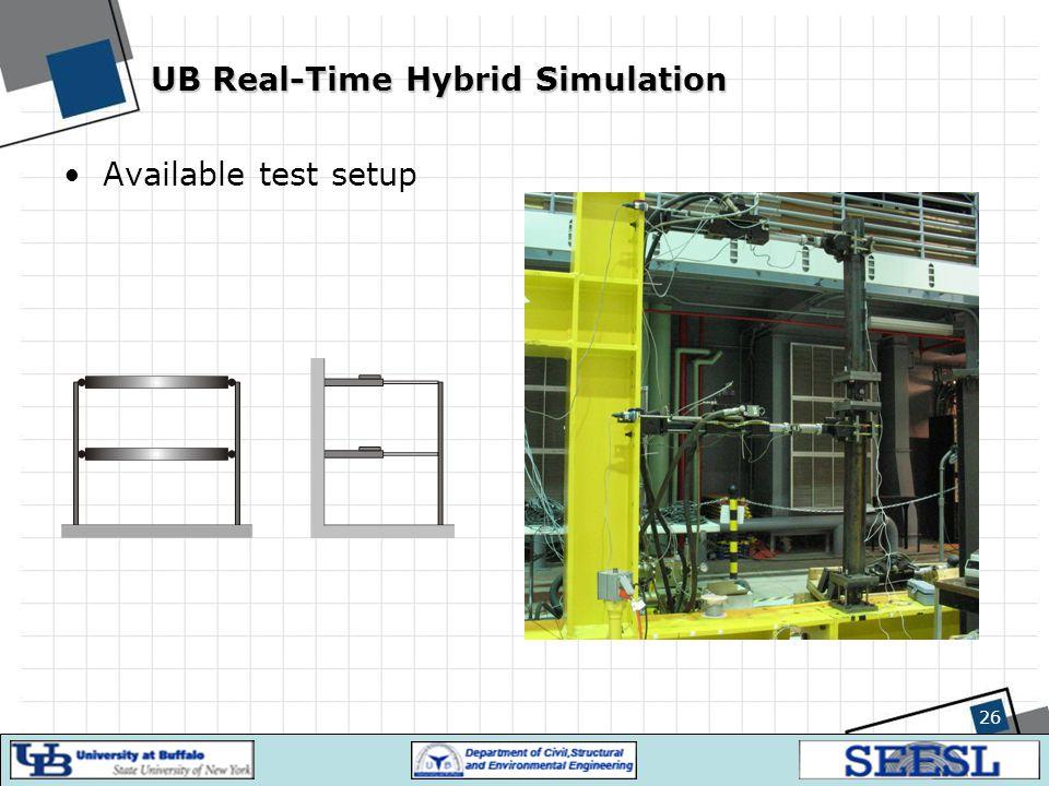 26 UB Real-Time Hybrid Simulation Available test setup
