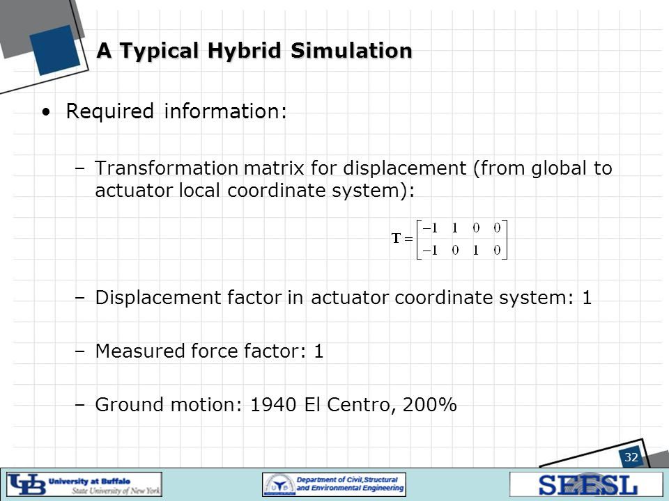 32 A Typical Hybrid Simulation Required information: –Transformation matrix for displacement (from global to actuator local coordinate system): –Displ