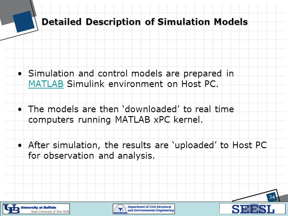 34 Detailed Description of Simulation Models Simulation and control models are prepared in MATLAB Simulink environment on Host PC. MATLAB The models a