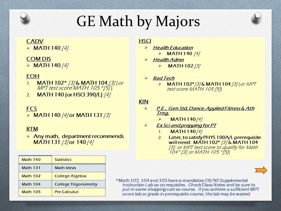 GE Math by Majors CADV MATH 140 [4] COM DIS MATH 140 [4] EOH 1.