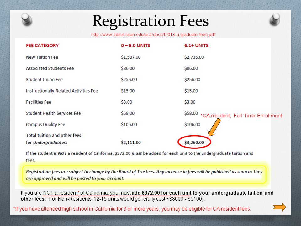 Registration Fees *If you have attended high school in California for 3 or more years, you may be eligible for CA resident fees.