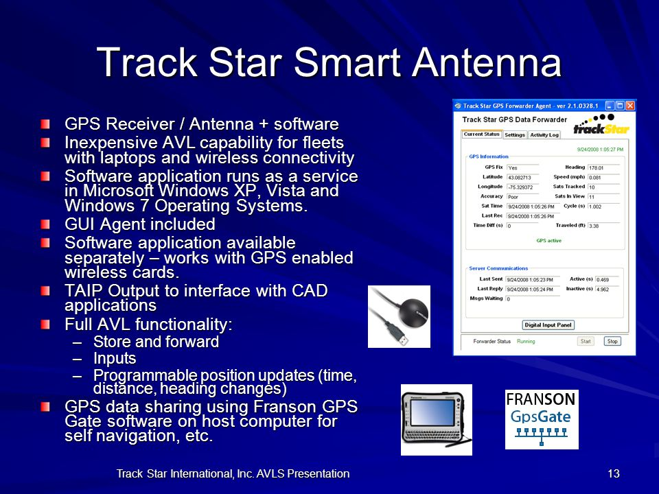 Track Star International, Inc. AVLS Presentation 13 Track Star Smart Antenna GPS Receiver / Antenna + software Inexpensive AVL capability for fleets w