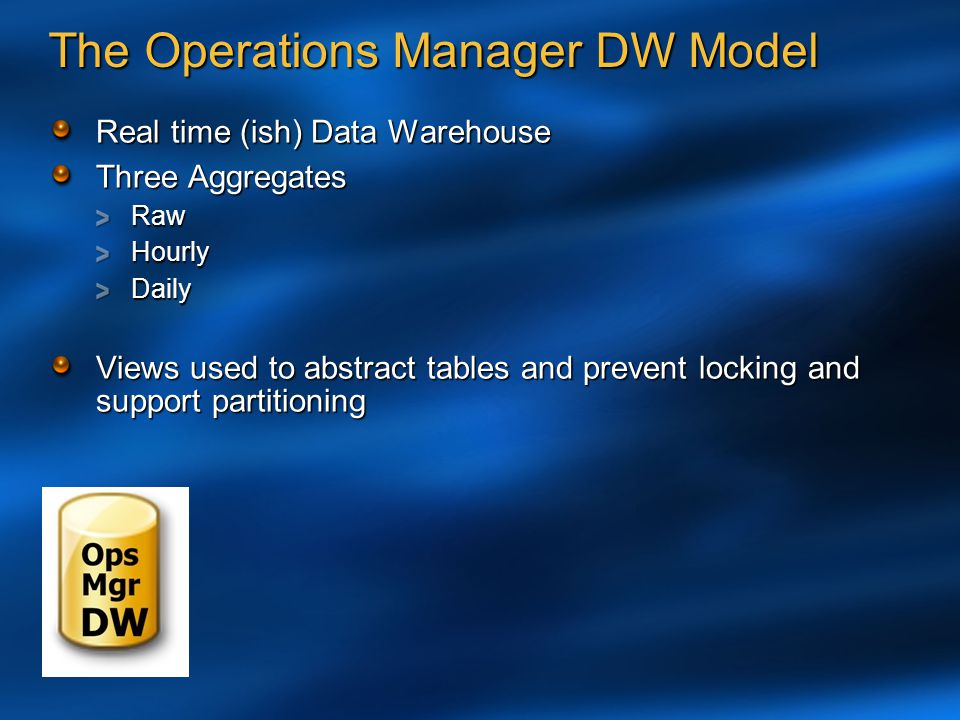 The Operations Manager DW Model Real time (ish) Data Warehouse Three Aggregates RawHourlyDaily Views used to abstract tables and prevent locking and s