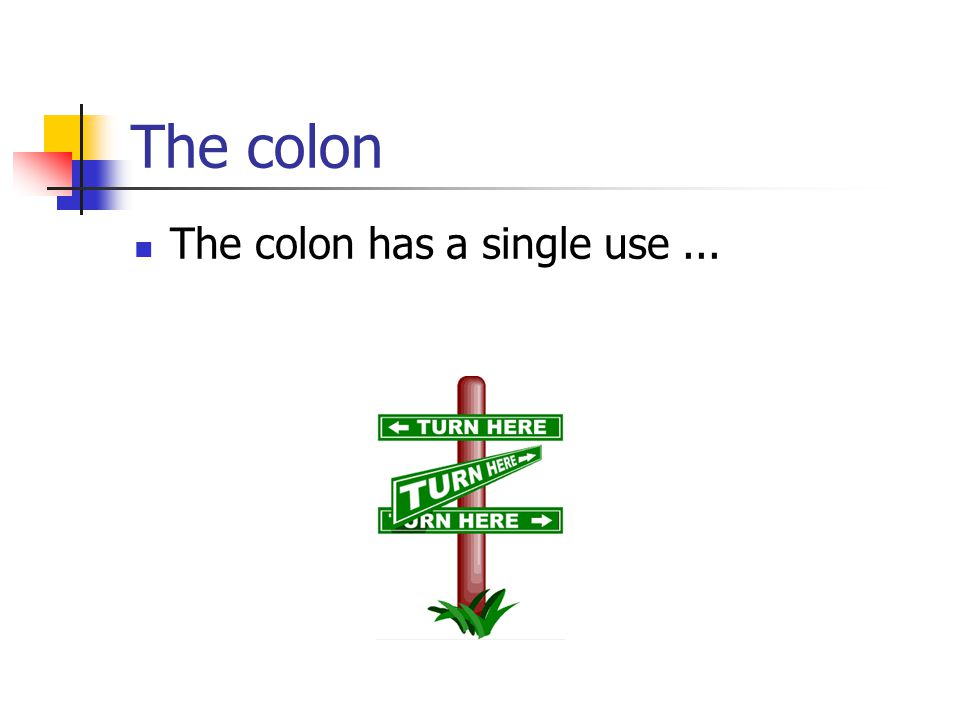 The colon The colon has a single use...