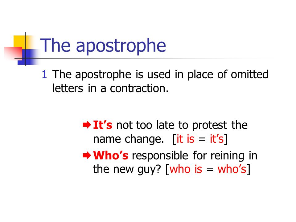 The apostrophe 1The apostrophe is used in place of omitted letters in a contraction. Its not too late to protest the name change. [it is = its] Whos r