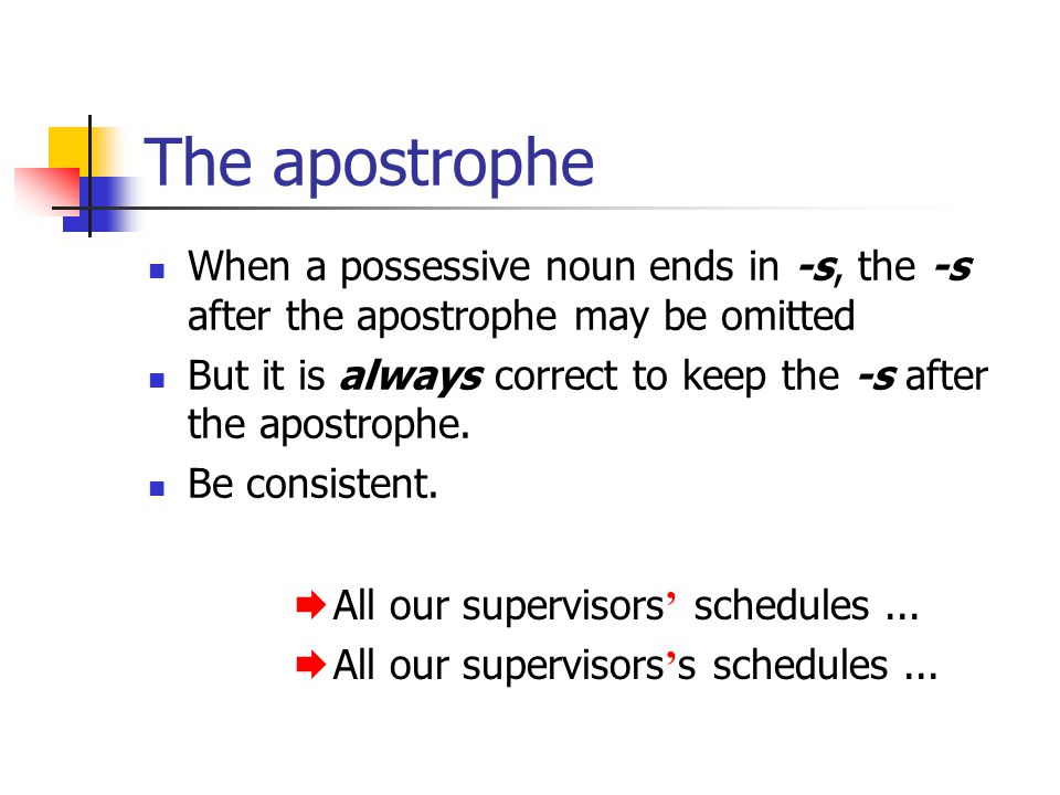 The apostrophe When a possessive noun ends in -s, the -s after the apostrophe may be omitted But it is always correct to keep the -s after the apostrophe.