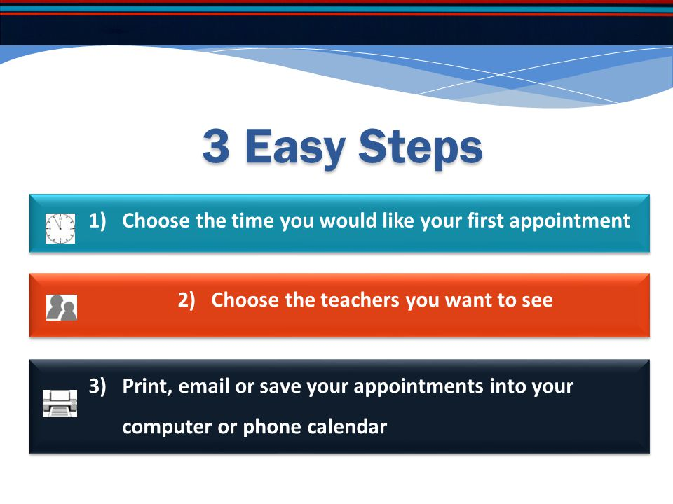 All your instructions are written here. The Next button will move you through each step as you book the interviews.