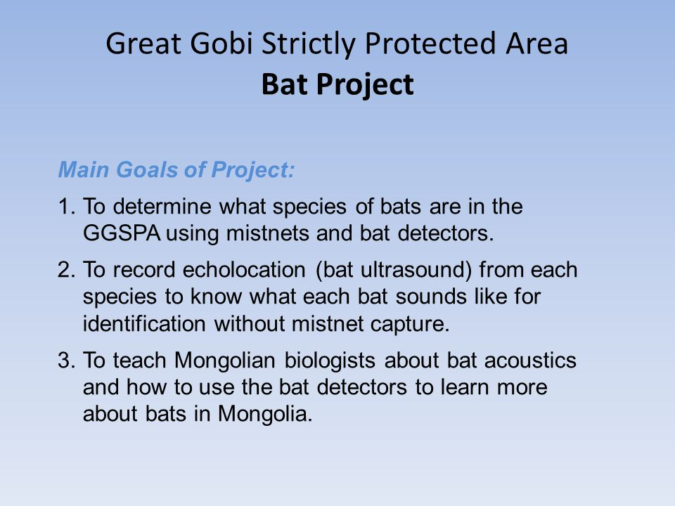 Great Gobi Strictly Protected Area Bat Project Main Goals of Project: 1.To determine what species of bats are in the GGSPA using mistnets and bat dete
