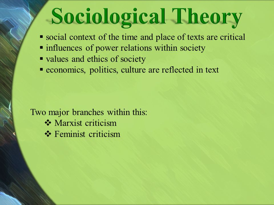 social context of the time and place of texts are critical influences of power relations within society values and ethics of society economics, politi