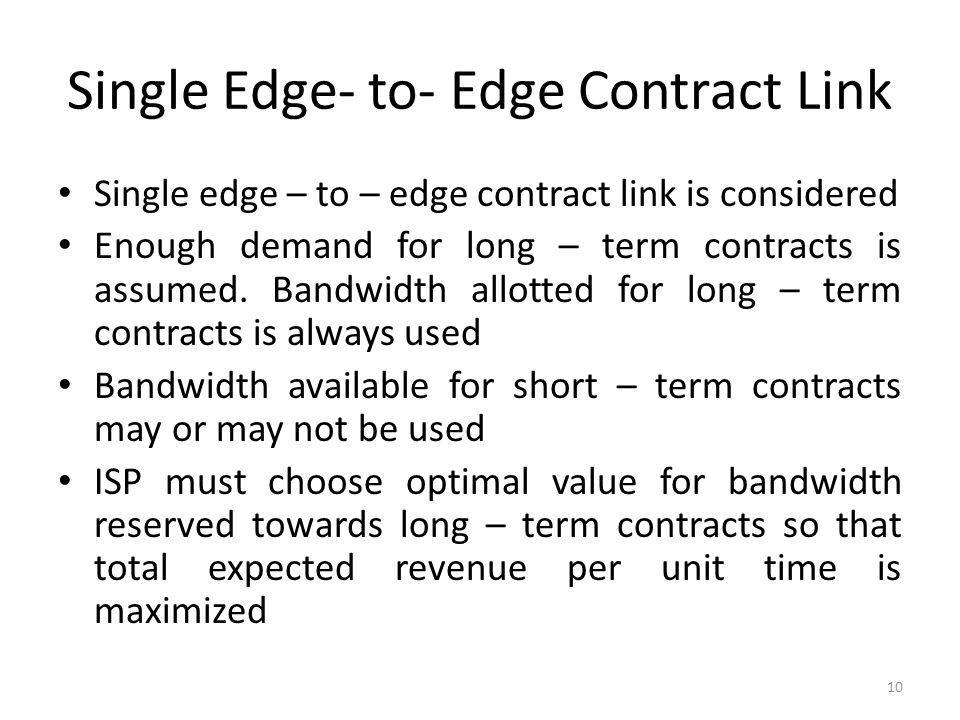 Single Edge- to- Edge Contract Link Single edge – to – edge contract link is considered Enough demand for long – term contracts is assumed. Bandwidth