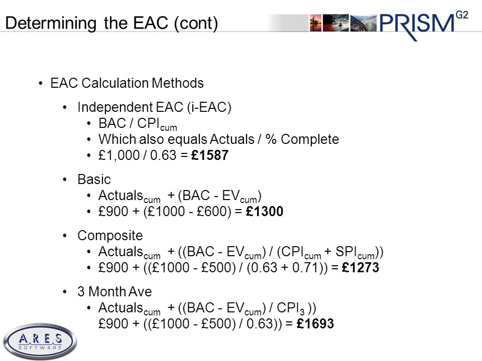© 2011 All Rights Reserved EAC Calculation Methods Independent EAC (i-EAC) BAC / CPI cum Which also equals Actuals / % Complete £1,000 / 0.63 = £1587 Basic Actuals cum + (BAC - EV cum ) £900 + (£1000 - £600) = £1300 Composite Actuals cum + ((BAC - EV cum ) / (CPI cum + SPI cum )) £900 + ((£1000 - £500) / (0.63 + 0.71)) = £1273 3 Month Ave Actuals cum + ((BAC - EV cum ) / CPI 3 )) £900 + ((£1000 - £500) / 0.63)) = £1693 Determining the EAC (cont)